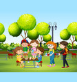 people eating in the park at daytime vector image vector image