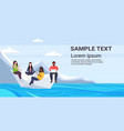 people floating on paper boat mix race men women vector image vector image