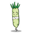 praying white radish cartoon character vector image vector image