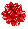 red realistic glossy ribbon bow vector image vector image