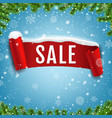 sale poster with red ribbon with snow isolated vector image
