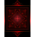 Satin frame with red openwork ornament vector image