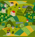 seamless pattern summer village landscape vector image
