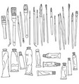 set of paint brushes and paint tubes vector image vector image