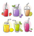 smoothie hand drawn summer cold fruits drinks vector image vector image