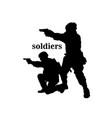 soldiers text soldier shoot gun background vector image vector image