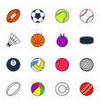 sports balls icon set on white background vector image vector image