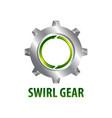 swirl gear logo concept design three dimensional vector image vector image