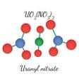 Uranyl nitrate UO2N2O6 molecule vector image vector image