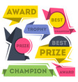 award ribbon banners collection in flat style vector image