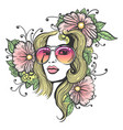 hand drawn girl face with flowers vector image