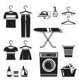 Cleaning Laundry Icons Set Monochrome vector image
