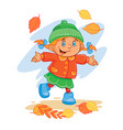 icon of small child throws up the fallen vector image