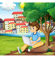 A young boy using the laptop under the tree at the vector image
