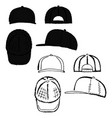 baseball tennis rap cap outlined template vector image vector image