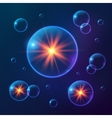 Blue shining cosmic bubbles vector image
