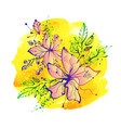 bright fantasy hand drawn flowers on watercolor vector image vector image