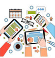 business desk top view work process with diagrams vector image