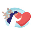 cardiologist listening to heart beat doctor vector image