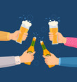 cheers with beer glasses hands holding glass and vector image