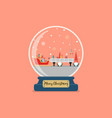 christmas glass ball with santa factory vector image vector image