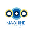 colored logo of machine learning in geometric vector image vector image