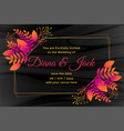 dark wedding card design with flower decoration vector image vector image