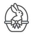 easter bunny in basket line icon easter and vector image vector image