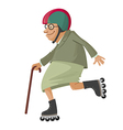 elderly woman on roller skates vector image