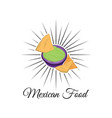 emblem of mexican food with nachos vector image vector image