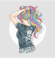 girl unicorn full colour hair with rocker t-shirt vector image vector image
