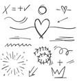 hand drawn set elements cartoon black on white vector image vector image