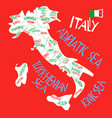 hand drawn stylized map italian republic vector image