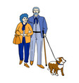 happy couple senior people walking with their vector image