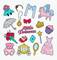 little princess doodle set of stickers badges vector image vector image