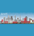 liverpool skyline with color buildings and blue vector image vector image