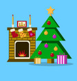 living room with christmas tree fireplace vector image