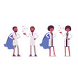 male and female black scientist with symbols vector image