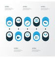 media icons colored set with pause magnifier vector image vector image
