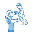 mom holding baby playing image shadow vector image vector image