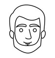 monochrome contour of man face with short hair and vector image