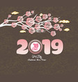 oriental chinese new year 2019 blossom and vector image vector image
