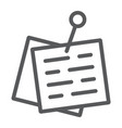 pinned paper line icon office and work sticky vector image