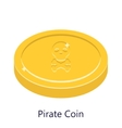 Pirate coin gold Skull sign vector image vector image