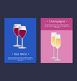 red wine and champagne glasses set posters vector image