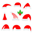 santa christmas hat red santa top hat isolated on vector image vector image