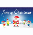 santa claus and childen merry christmas vector image vector image