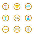 sculpture icons set cartoon style vector image vector image