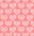 seamless pattern from doodle hand drawn heart vector image vector image
