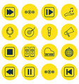 set of 16 audio icons includes following song vector image vector image